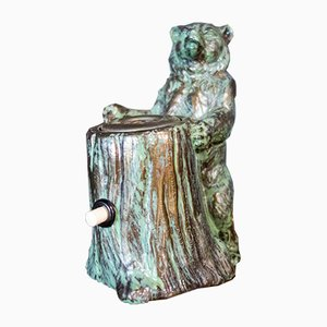 Bronze Bear Statue with Cigarettes and Cigar Lighter
