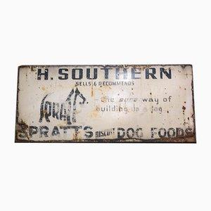 Vintage English Enamel Spratt's Dog Foods Advertising Sign