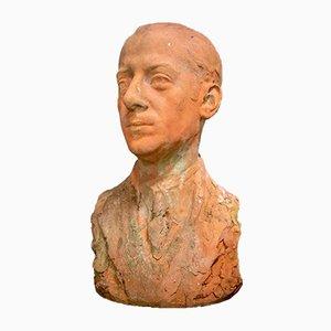Skulpturale Terrakotta Büste von Gentleman