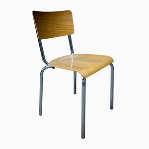 Chrome and Wood Stacking Chair from Gispen