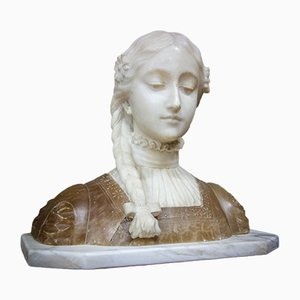 French Bust Sculpture of Lady in Marble & Alabaster, 1880s