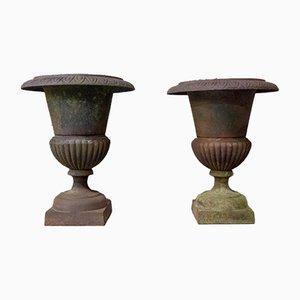 Antique Cast Iron Vases, Set of 2