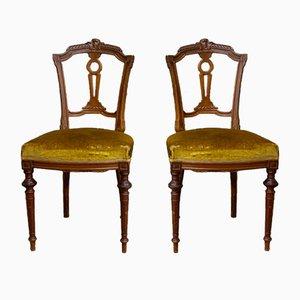 Antiker Stuhl mit Goldfarbenem Samtbezug, Lyon, 1800er