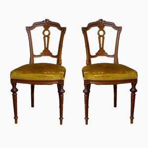 Antique Chair with Gold Velvet Upholstery, Lyon, 1800s