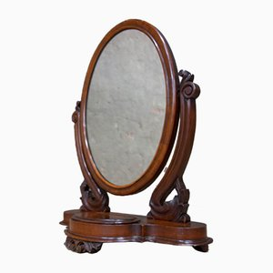 Antique Table Mirror with Jewelry Storage