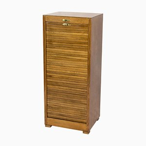 Art Deco Oak Roller Door Filing Cabinet, 1920s