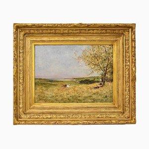 Schäferin & Kühe Landschaftsmalerei von Auguste Ernest Sembach, 1882