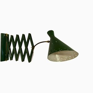 Italian Industrial Green Concertina Scissor Sconce, 1950s