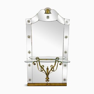 Large Italian Mirror Console by Pier Luigi Colli for Cristal Art, 1960s