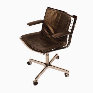 Chrome-Plated Steel and Leather Desk Chair from Apelbaum, 1970s