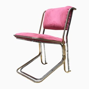Space Age Italian Steel and Pink Alcantara Dining Chairs, 1970s, Set of 4