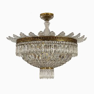 Vintage Empire Style Crystal 6-Light Ceiling Lamp, 1940s
