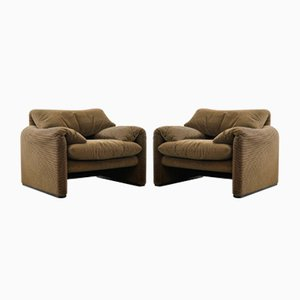 Maralunga Lounge Chairs by Vico Magistretti for Cassina, 2000s, Set of 2