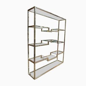 Copper-Plated Metal and Brass Shelves, 1970s, Set of 2
