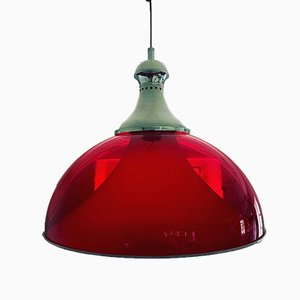 Italian Red Ceiling Lamp, 1960s