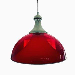 Lámpara de techo italiana en rojo, años 60