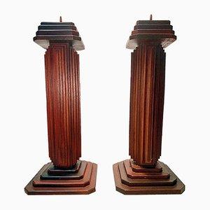 Vintage Art Deco Handmade Hardwood Standing Candleholders, Set of 2