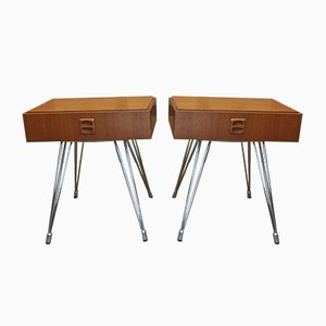 Teak and Chrome-Plated Metal Nightstands, 1970s, Set of 2