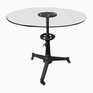 Industrial Adjustable Metal and Glass Round Dining Table, 1940s