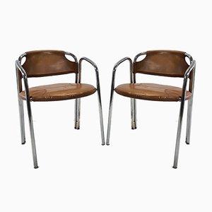 Italienische Mid-Century Chrom Stühle mit Rohrrahmen und Lederbezug, 1960er, 2er Set