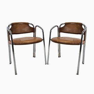 Mid-Century Italian Chrome Tube Frame Chairs with Leather Upholstery, 1960s, Set of 2
