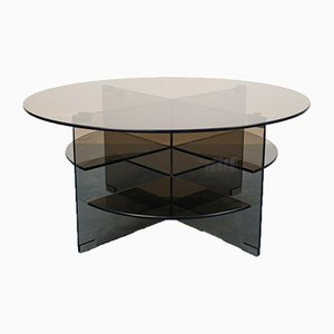 Vintage Smoked Parsol Crystal Coffee Table from Forli, 1970s