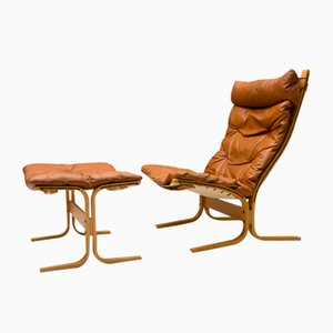 Leather Armchair and Footstool Set by Ingmar Relling for Westnofa, 1960s