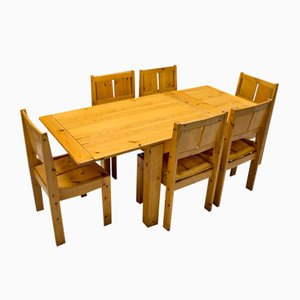 Finnish Pinewood Dining Table and Chairs Set from Vilka, 1960s, Set of 7