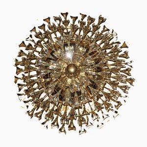 Italian Gilt Brass and Crystal Ceiling Lamp from Stilkronen, 1970s