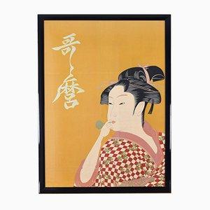 Grande Femme Jouant une Peinture Poppin d'Utamaro