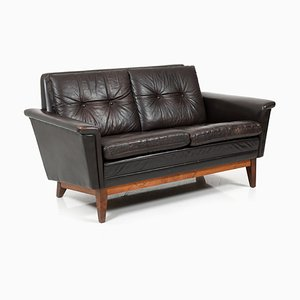 Mid-Century Danish Brown Leather and Rosewood 2-Seater Sofa, 1960s