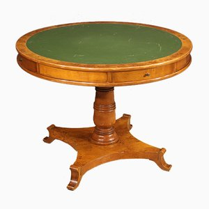 Round French Mahogany, Burl, Beech, and Fruitwood Dining Table, 1960s