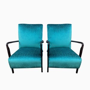Italian Art Deco Cherry Veneer Lounge Chairs, 1930s, Set of 2