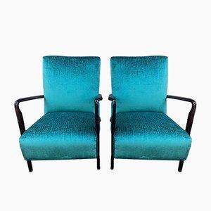 Italian Art Deco Cherry Veneer Lounge Chairs from Cassina, 1930s, Set of 2
