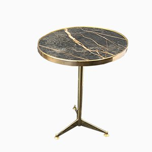 Vintage Brass and Black Marble Round Coffee Table, 1970s