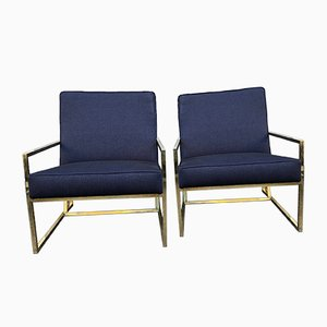 Vintage Brass and Indigo Fabric Padding & Upholstery Lounge Chairs, 1970s, Set of 2