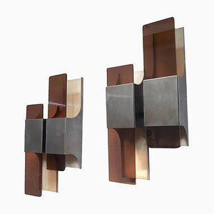 Geometric Plexiglas and Aluminium Sconces, 1960s, Set of 2