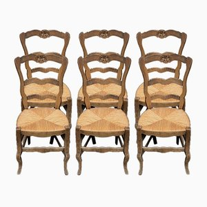 Antique French Ladder Back Dining Chairs, Set of 6