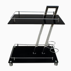 Italian Chrome-Plated Metal and Glass Bar Trolley by Willy Rizzo, 1970s