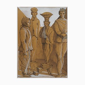 Disegno vintage di quattro uomini di Erik Desmazières
