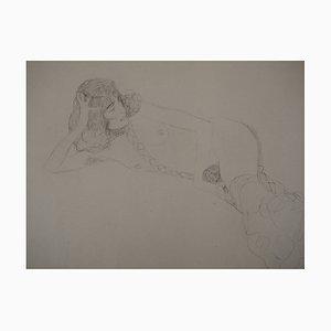 Litografía Reclining desnuda de Gustav Klimt, 1929