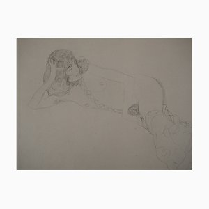 Reclining Nude Lithograph after Gustav Klimt, 1929