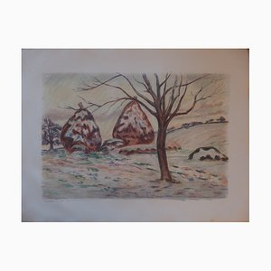 the Haystacks in Winter at Palaiseau Lithograph by Armand Guillaumin