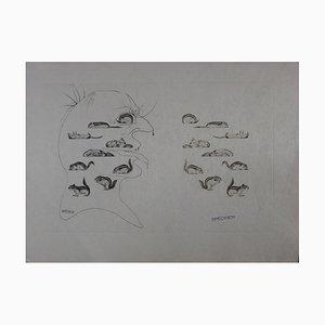 Gravure Man Resuscitated par the Holography of the Squirrel par Salvador Dali, 1973