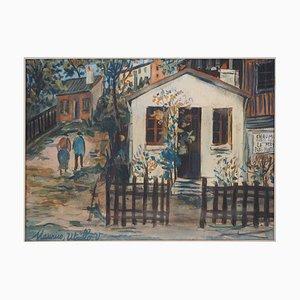 Vintage Maquis in Montmartre Gouache von Maurice Utrillo