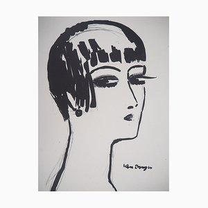 Litografia vintage a capelli corti di Kees van Dongen, 1925
