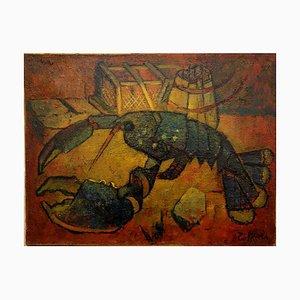 Bretonisches Vintage Hummer Ölgemälde von Louis Toffoli