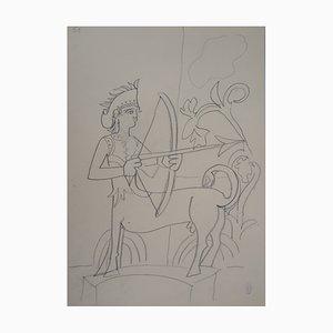 Vintage Schütze Zeichnung von Jean Cocteau