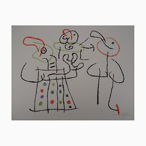 Vintage Ubu Family with a Child Lithographie von Joan Miró
