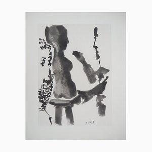 Bildhauer vor seinem Skulpturenständer Radierung von Pablo Picasso, 1965